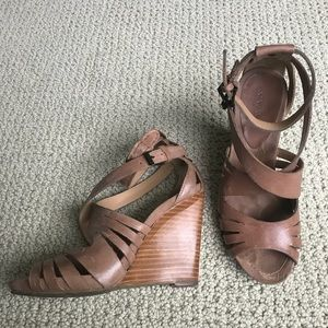 Sexy Strappy Nude Platform Wedge Sandal